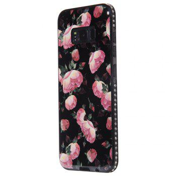 Wkae Porcelain Flower Mobile Phone Shell Surrounded By Rhinestone for Samsung Galaxy S8 - BLACK AND ROSE RED BLACK/ROSE RED