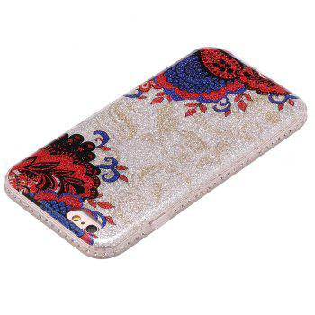 Wkae Flash Powder Mobile Phone Shell Surrounded By Rhinestone for IPhone 6 / 6S -  BLUE/RED