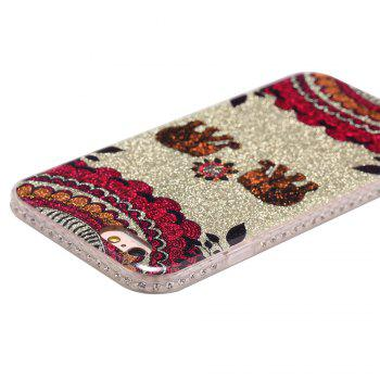 Wkae Flash Powder Mobile Phone Shell Surrounded By Rhinestone for IPhone 6 / 6S -  RED/WHITE