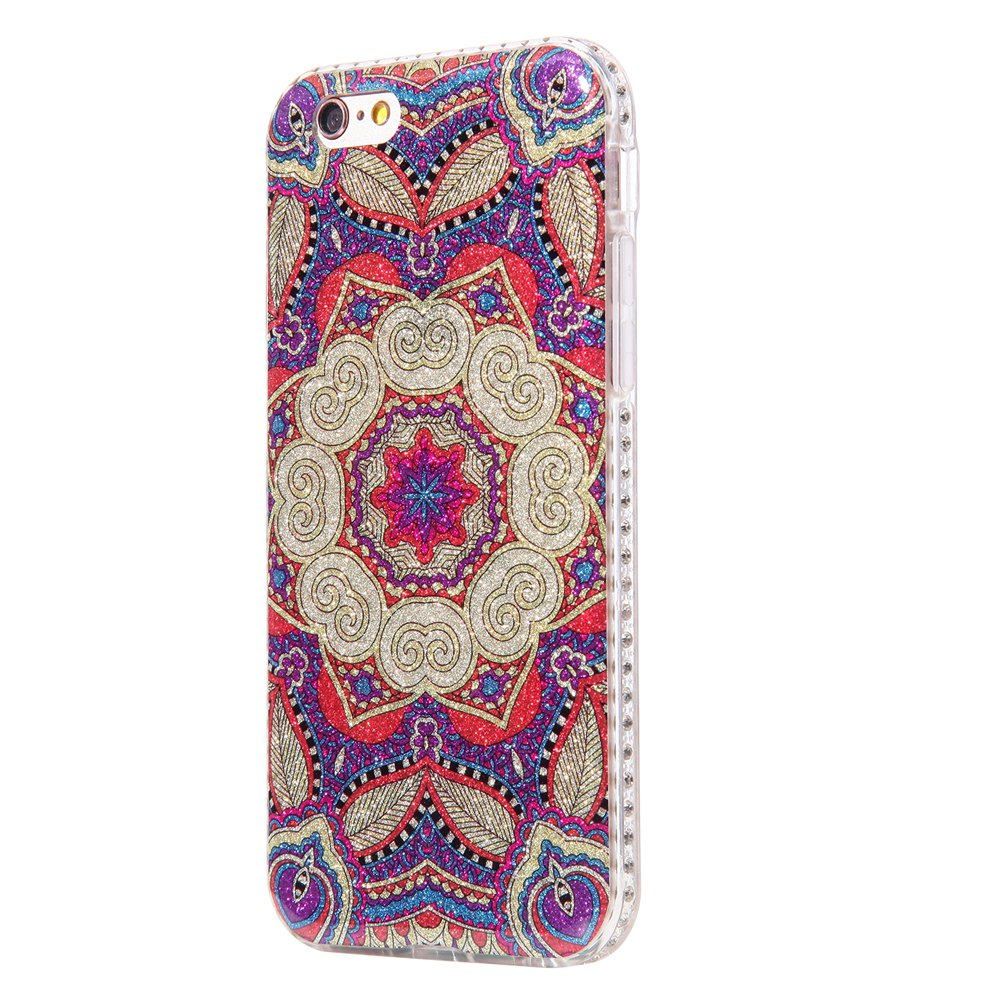 Wkae Flash Powder Mobile Phone Shell Surrounded By Rhinestone for IPhone 6 / 6S - PURPLE