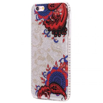 Wkae Flash Powder Mobile Phone Shell Surrounded By Rhinestone for IPhone 6 Plus / 6S Plus - BLUE AND RED BLUE/RED