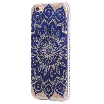 Wkae Flash Powder Mobile Phone Shell Surrounded By Rhinestone for IPhone 6 Plus / 6S Plus - BLUE BLUE