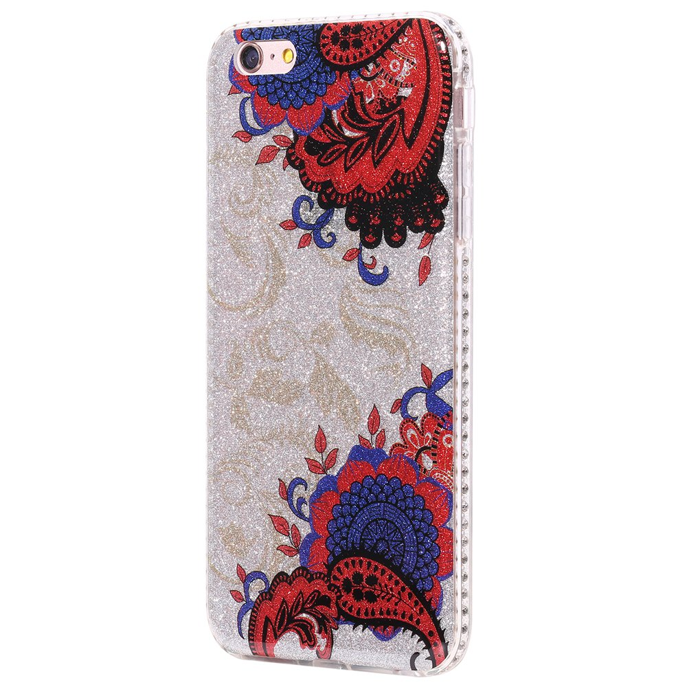 Wkae Flash Powder Mobile Phone Shell Surrounded By Rhinestone for IPhone 6 Plus / 6S Plus - BLUE/RED