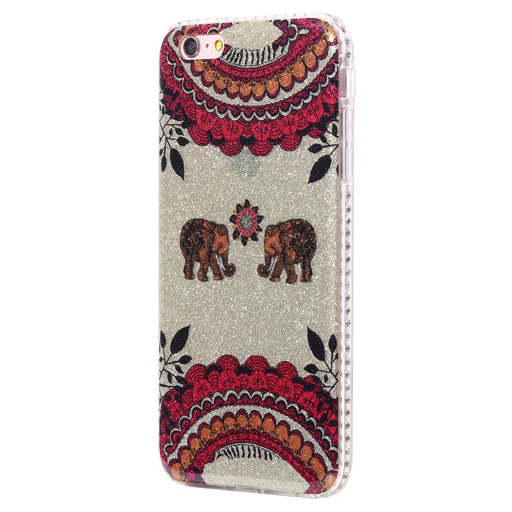 Wkae Flash Powder Mobile Phone Shell Surrounded By Rhinestone for IPhone 6 Plus / 6S Plus - RED/WHITE