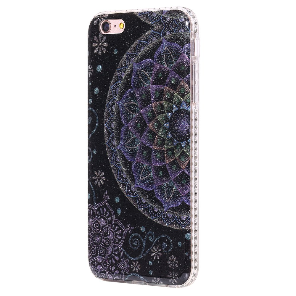 Wkae Flash Powder Mobile Phone Shell Surrounded By Rhinestone for IPhone 6 Plus / 6S Plus - BLACK/BLUE