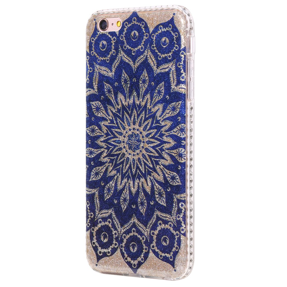 Wkae Flash Powder Mobile Phone Shell Surrounded By Rhinestone for IPhone 6 Plus / 6S Plus - BLUE