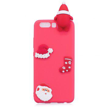 Christmas Hat Tree Santa Claus Reindeer 3D Cartoon Animals Soft Silicone TPU Cas for HUAWEI Honor P10 -  RED
