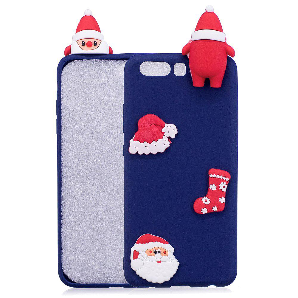 Christmas Hat Tree Santa Claus Reindeer 3D Cartoon Animals Soft Silicone TPU Cas for HUAWEI Honor P10 - BLUE