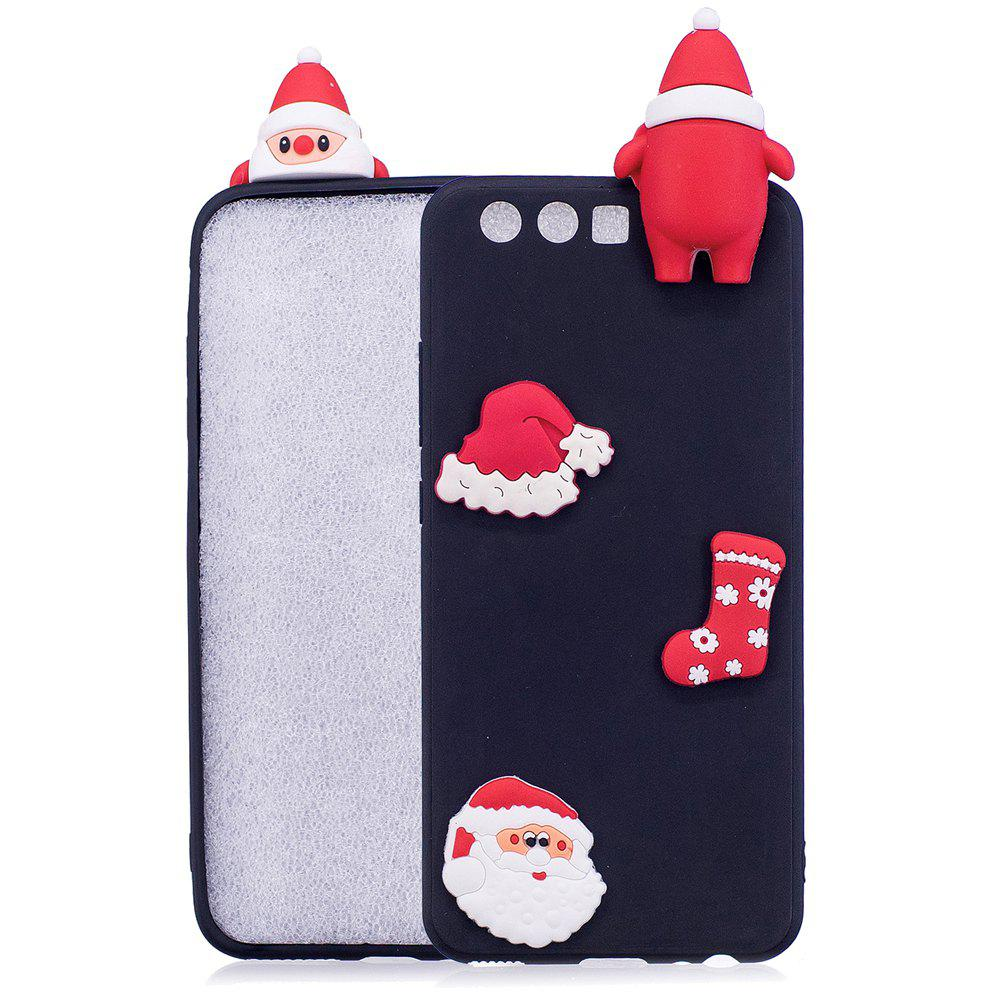 Christmas Hat Tree Santa Claus Reindeer 3D Cartoon Animals Soft Silicone TPU Cas for HUAWEI Honor P10 - BLACK