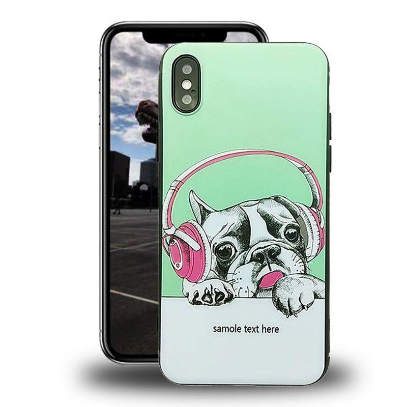 Liquid Silicone Gel Rubber Shockproof Case with Soft Microfiber Cloth Lining Cushion for  iPhone X - GREEN/DOG