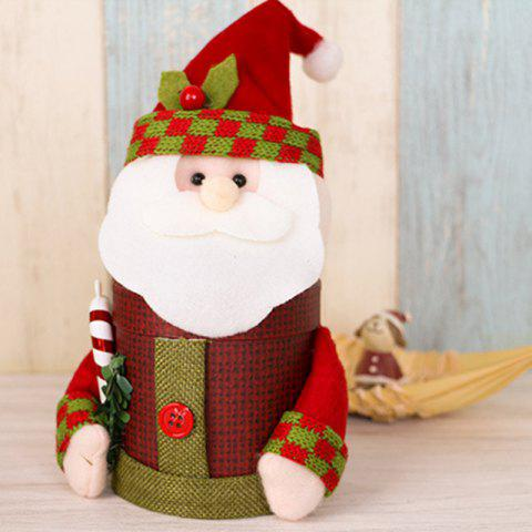 Lovely Christmas Decoration Box Santa Claus Deer Snowman Gift Candy Bottle - RED