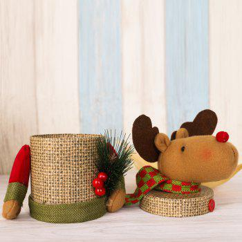 Lovely Christmas Decoration Box Santa Claus Deer Snowman Gift Candy Bottle - BROWN BROWN