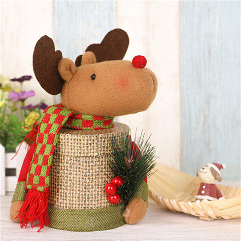 Lovely Christmas Decoration Box Santa Claus Deer Snowman Gift Candy Bottle - BROWN