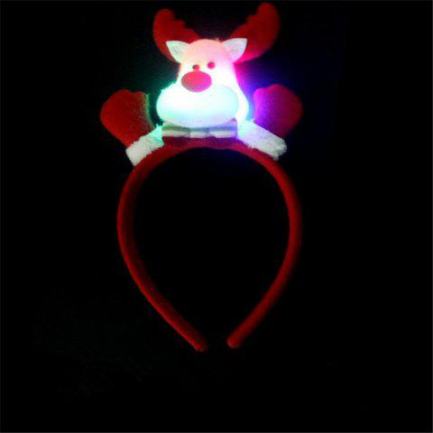 Cute Flashing Christmas Headband LED Headwear for Kids Adults Decoration - RED/WHITE
