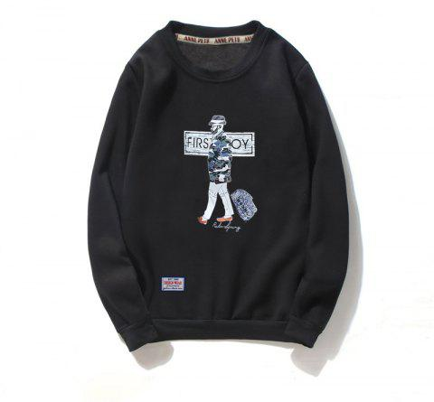 Men's Cotton Fashion Printing Loose Clothing Plus Sweatshirt - BLACK L