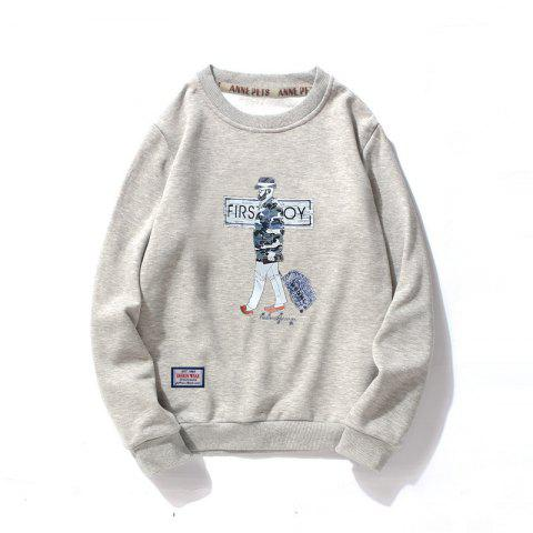 Men's Cotton Fashion Printing Loose Clothing Plus Sweatshirt - GRAY M