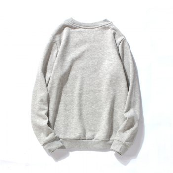 Men's Cotton Fashion Printing Loose Clothing Plus Sweatshirt - GRAY GRAY