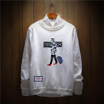 Men's Cotton Fashion Printing Loose Clothing Plus Sweatshirt - WHITE 2XL