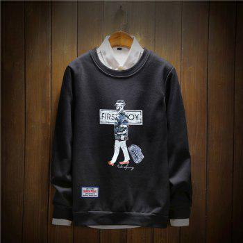 Men's Cotton Fashion Printing Loose Clothing Plus Sweatshirt - BLACK 2XL