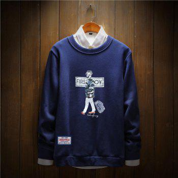 Men's Cotton Fashion Printing Loose Clothing Plus Sweatshirt - ROYAL L