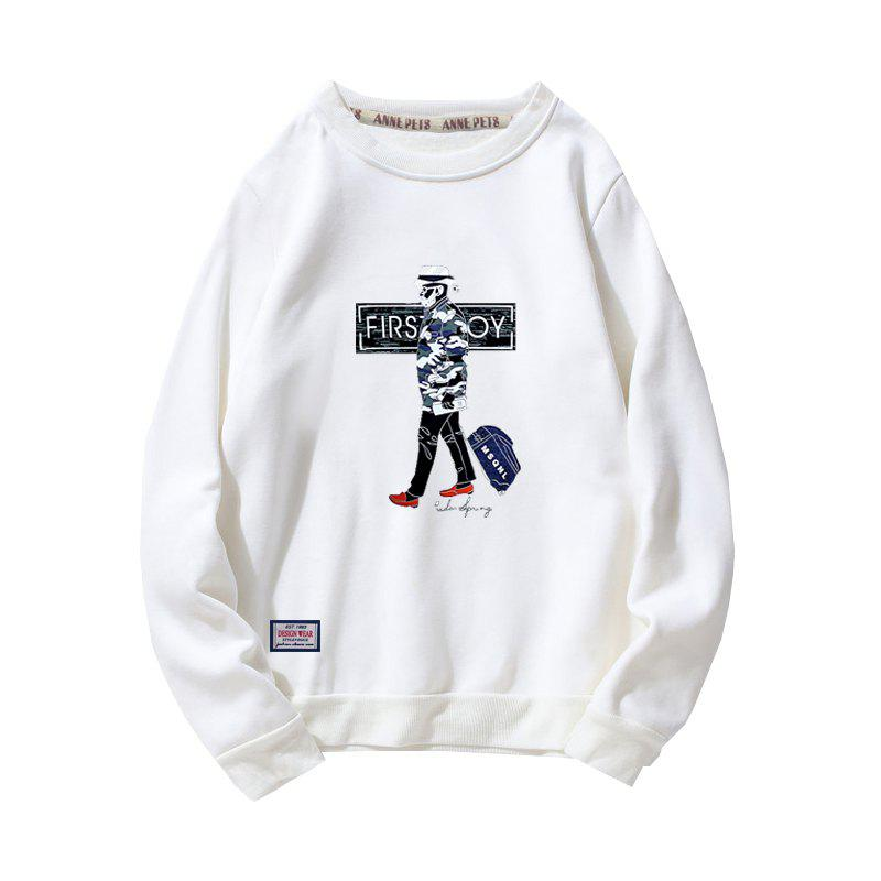 Men's Cotton Fashion Printing Loose Clothing Plus Sweatshirt - WHITE XL