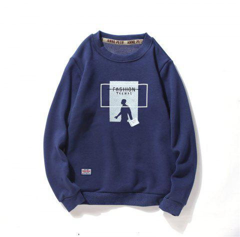 Men's Cotton Printing Clothing Plus Loose Fashion Sweatshirt - ROYAL 2XL