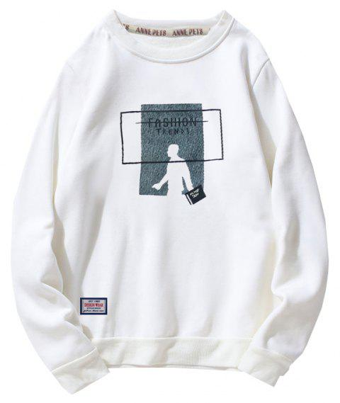 Men's Cotton Printing Clothing Plus Loose Fashion Sweatshirt - WHITE M