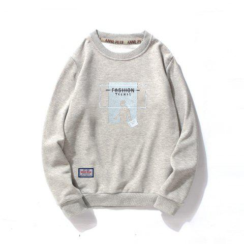 Vêtements d'impression en coton pour hommes Plus Sweatshirt Fashion Loose - Gris XL