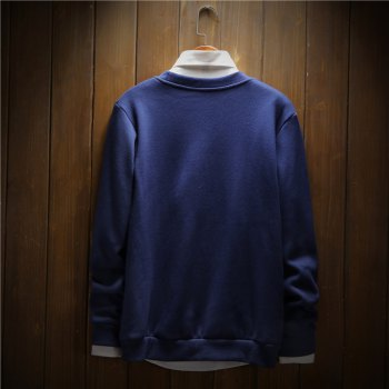 Men's Cotton Printing Clothing Plus Loose Fashion Sweatshirt - ROYAL 3XL