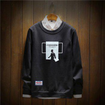 Men's Cotton Printing Clothing Plus Loose Fashion Sweatshirt - BLACK BLACK