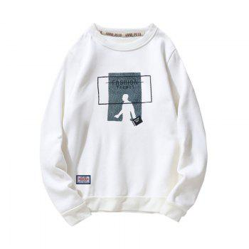 Men's Cotton Printing Clothing Plus Loose Fashion Sweatshirt - WHITE WHITE