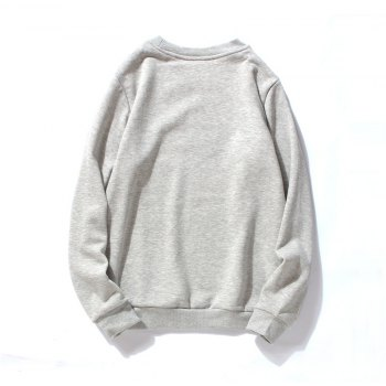 Men's Cotton Printing Clothing Plus Loose Fashion Sweatshirt - GRAY M