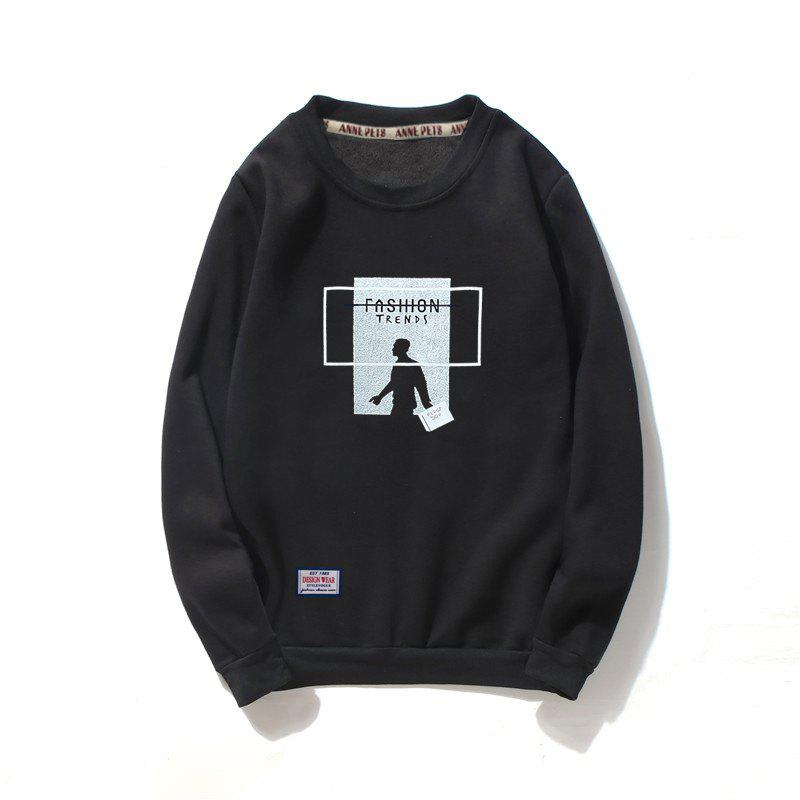 Men's Cotton Printing Clothing Plus Loose Fashion Sweatshirt - BLACK L