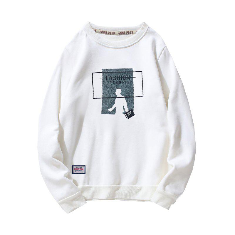Vêtements d'impression en coton pour hommes Plus Sweatshirt Fashion Loose - Blanc XL