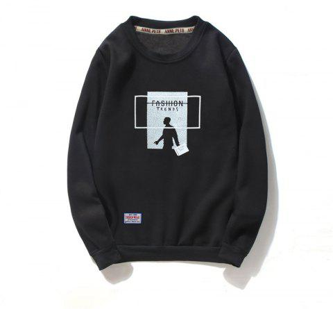Men's Printing Cotton Fashion Clothing Plus Loose Sweatshirt - BLACK L