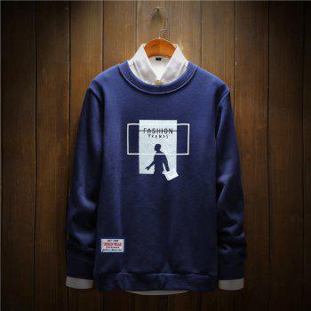 Men's Printing Cotton Fashion Clothing Plus Loose Sweatshirt - ROYAL ROYAL