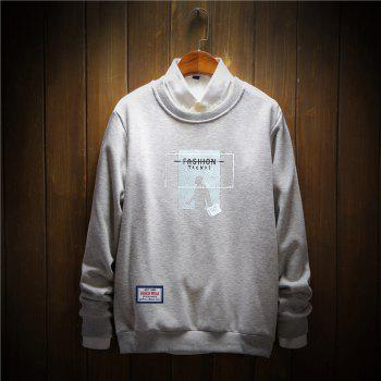 Men's Printing Cotton Fashion Clothing Plus Loose Sweatshirt - GRAY 3XL