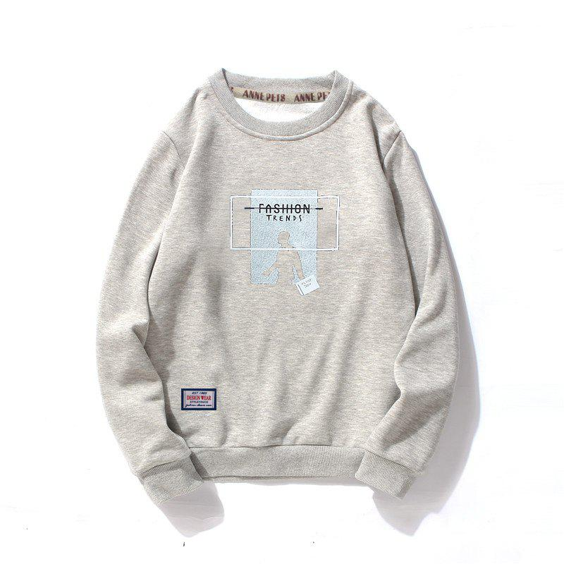 Men's Printing Cotton Fashion Clothing Plus Loose Sweatshirt - GRAY L