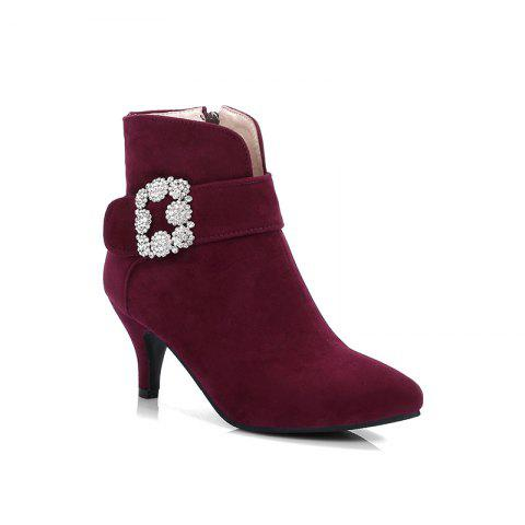 Women's Ankle Boots Rhinestone Ornament Thin Heel Pointed Toe Boots - BURGUNDY 34
