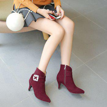 Women's Ankle Boots Rhinestone Ornament Thin Heel Pointed Toe Boots - BURGUNDY BURGUNDY