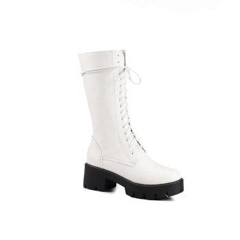 Women's Martin Boots Solid Color Platform Mid Calf Boots - WHITE WHITE