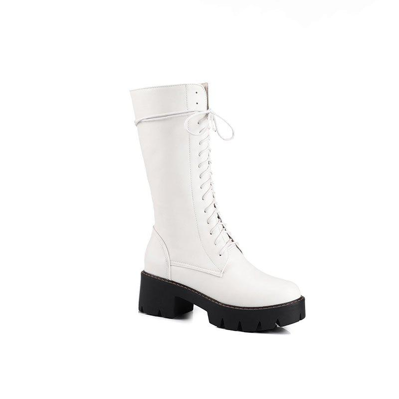 Women's Martin Boots Solid Color Platform Mid Calf Boots - WHITE 34