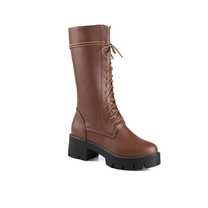 Women's Martin Boots Solid Color Platform Mid Calf Boots - BROWN 34