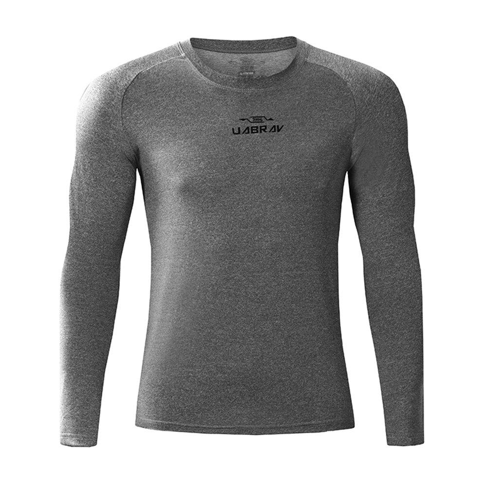 Men's Quick-Drying Sportswear Fitness Gym Clothes Long Sleeves - GREY L