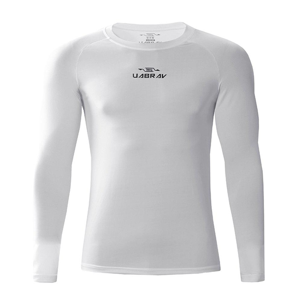 Men's Quick-Drying Sportswear Fitness Gym Clothes Long Sleeves - WHITE L