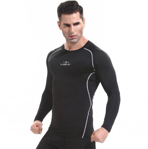 Basketball Tights Fitness Clothing Male Outdoor Quick-Drying Long Sleeve T-Shirt - BLACK L