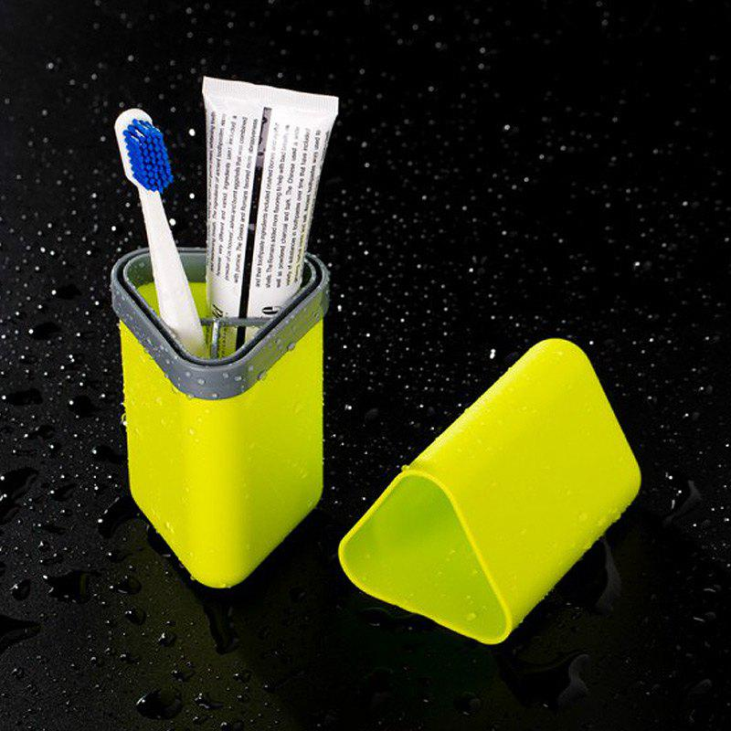 Travel Gargle Cup Toothbrush Toothpaste Suit Storage Box - YELLOW / GREEN