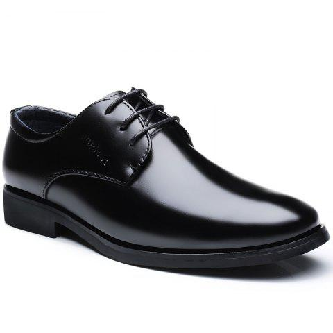 Business Casual Men Lace Up Leather Shoes - BLACK 40