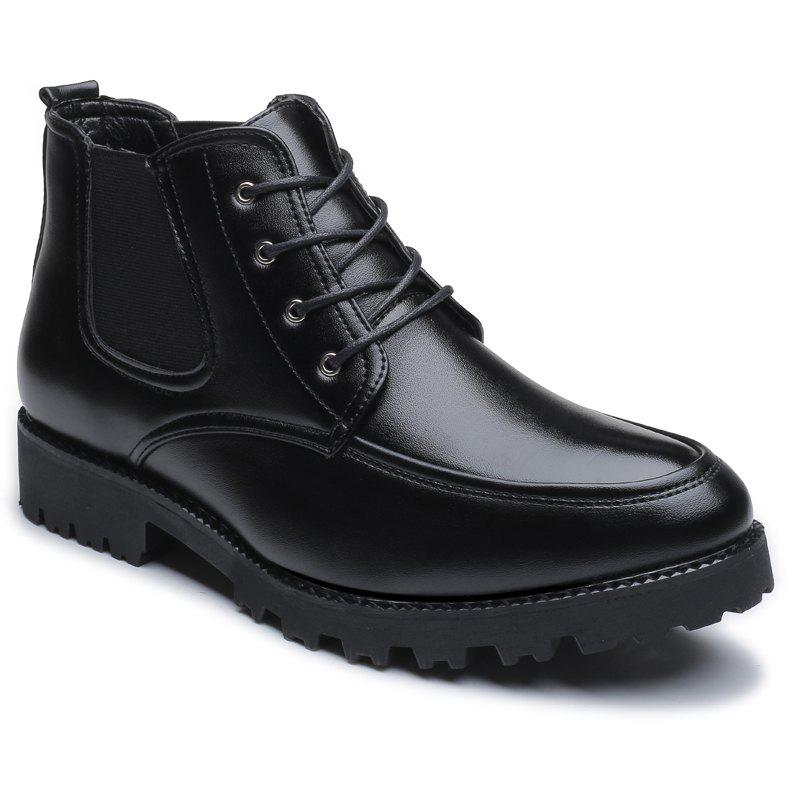 High Vamp Fashion Men Leisure Leather Shoes - BLACK 40