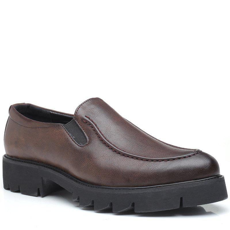 Men Leisure Slip on Leather Shoes - BROWN 40